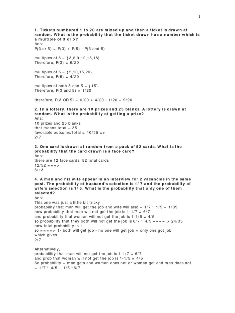 worksheet Probability On Numbers probability problems from thread1 odds probability