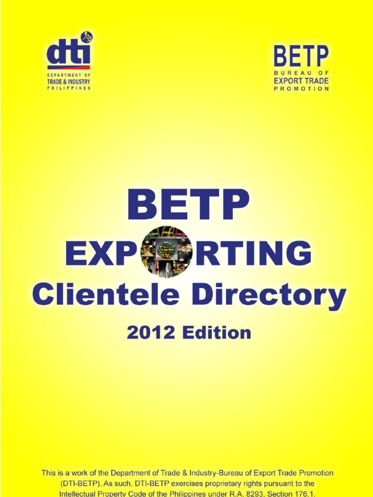 Betp exporting clientele directory 2012 fandeluxe Choice Image