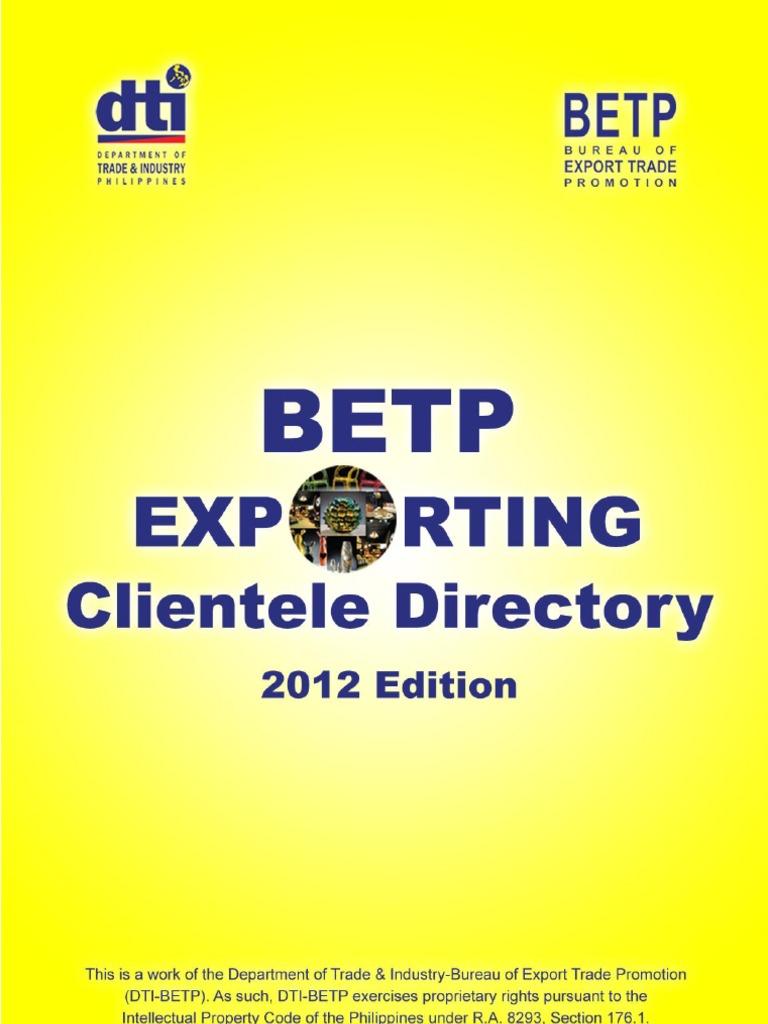 Betp exporting clientele directory 2012 fandeluxe Gallery