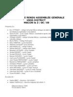 Compte Rendu AssemblÉe gÉnÉRale Unss District Macon Le 3