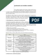 2007_06_11_Métodos Quantitativos I_MarcosForte_O uso de questionários em trabalhos científicos
