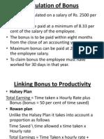 Calculation of Bonus