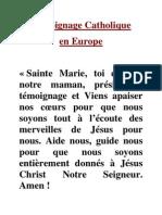 Témoignage Catholique pour la TV catholique en Europe