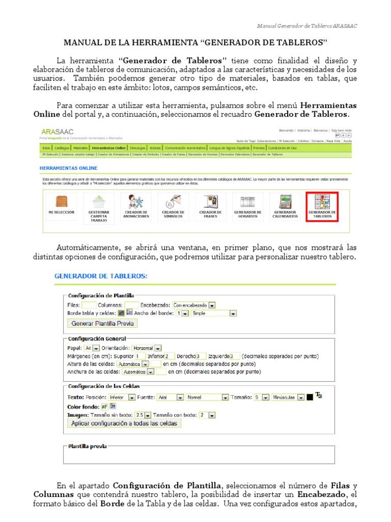 Manual Generador de Tableros. Arasaac