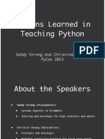 Lessons Learned in Teaching Python