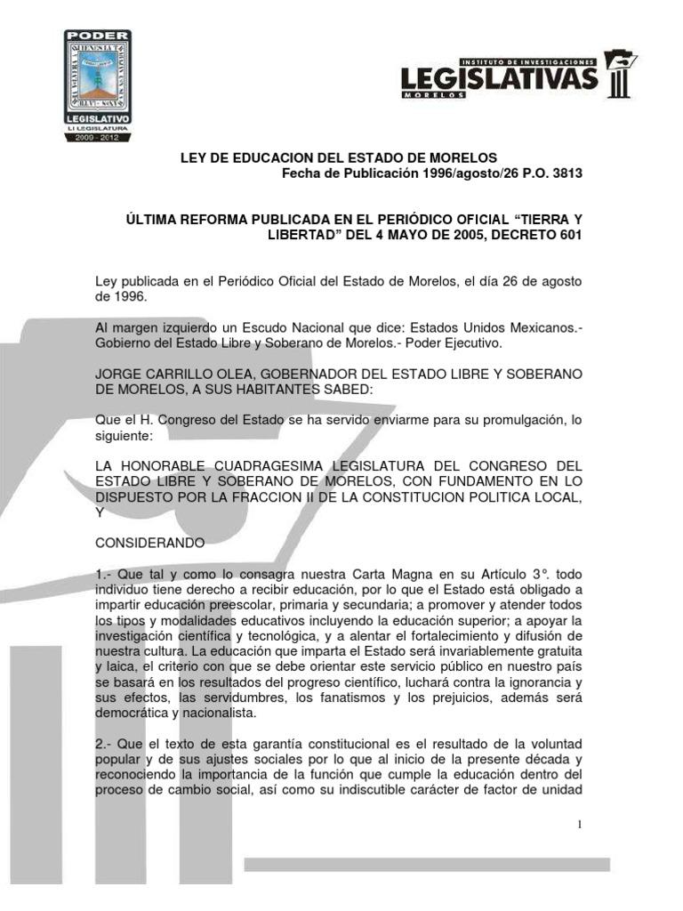 Ley Educacion Morelos Educacion Secundaria Jardin De Infancia