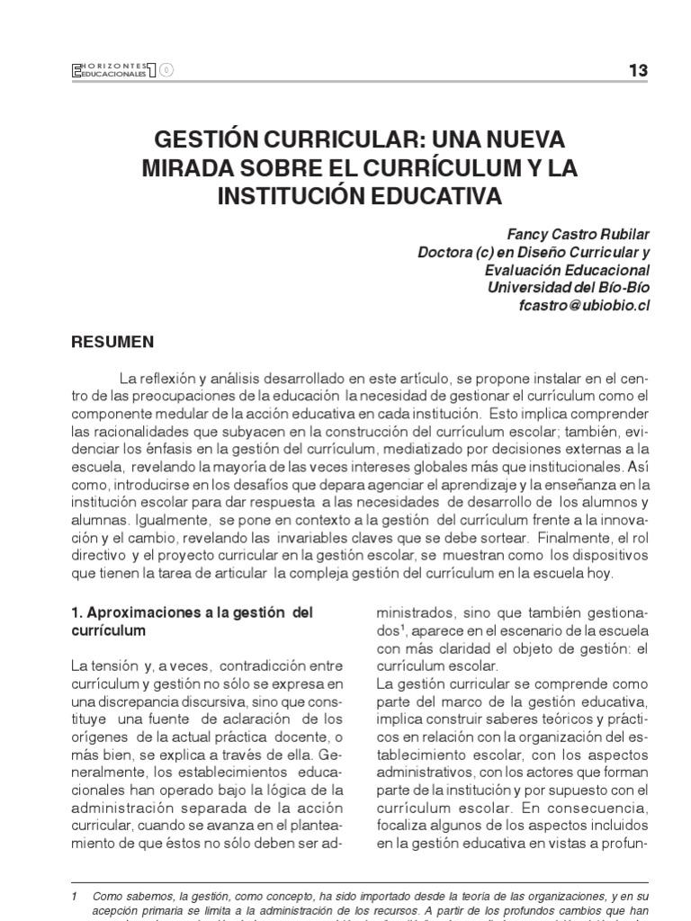 Castro F. 2005 Gestión curricular, una nueva mirada sobre el currículum