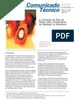 A utilização de óleo de palma como componene do biodiesel na amazônia