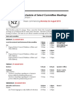 New Zealand Select Committee Meetings for the week starting Monday August 26, 2013
