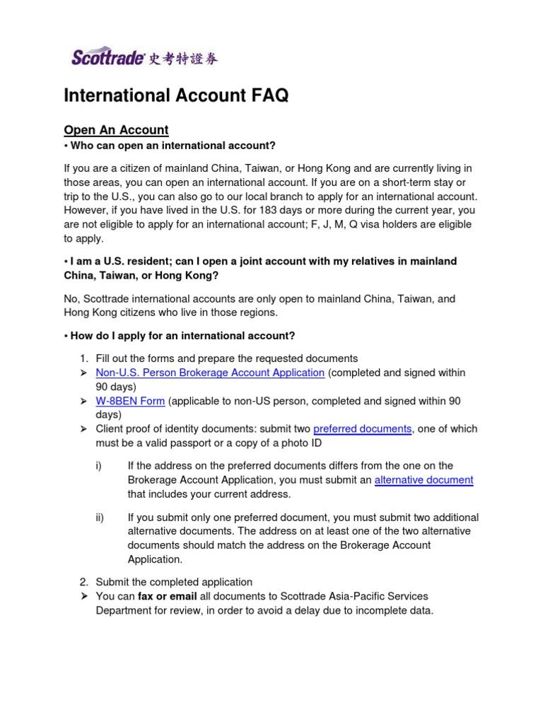 International Account Faq Pdf Irs Tax Forms Cheque