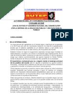 Acuerdos Del IV Congreso Nacional Del Conare Sutep