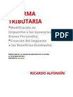 Proyecto de Reforma Tributaria - Ricardo Alfonsín