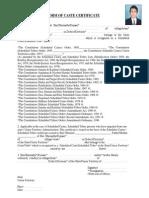 Form of Caste Certificate