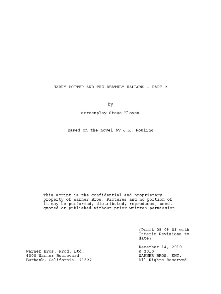 Harry Potter And The Deathly Hallows Part 2 By Screenplay Steve