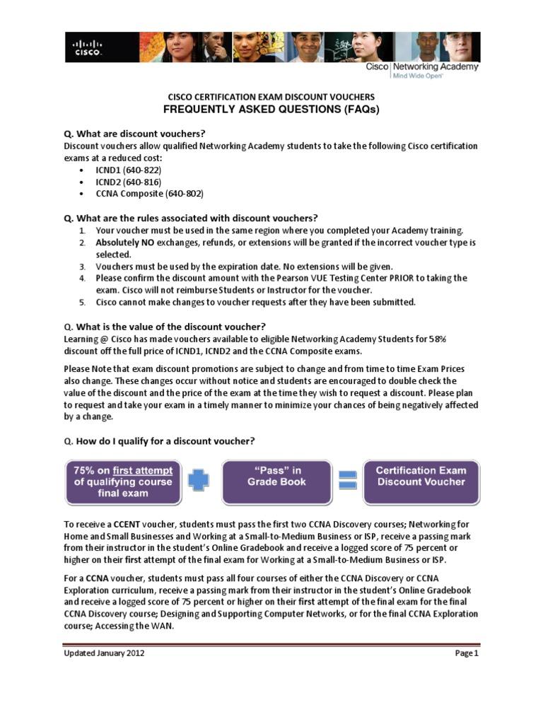 CISCO CERTIFICATION EXAM DISCOUNT VOUCHERS FAQs | Cisco ...