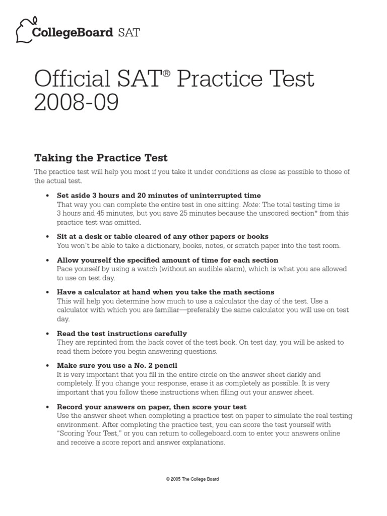 Official SAT Practice Test 2008-2009   Multiple Choice   Sat