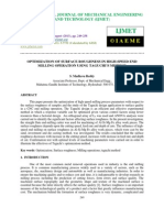 Optimization of Surface Roughness in High-speed End Milling Operation Using