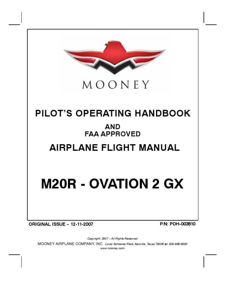 Mooney M20r Ovation 2 Gx Pilots Operating Handbook And Airplane Cps1 1 Way Ceiling Pull Switch Flight Manual Aviation Vehicle Technology
