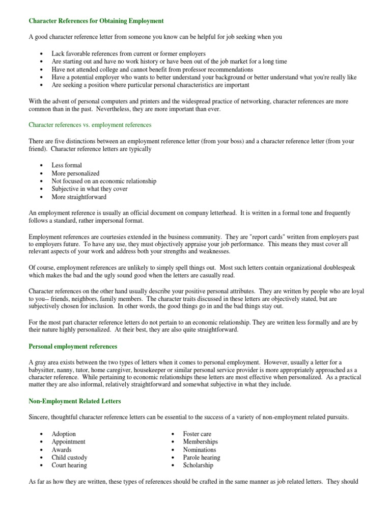 Words To Use In A Character Reference Letter Images Letter Format