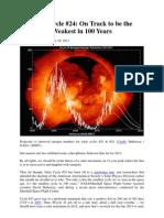 Solar Cycle 24 Weakest in 100 Years