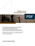 The Decline of Investment in East Asia since the Asian Financial Crisis