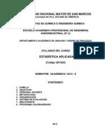 SILABO DE ESTADISTICA APLICADA 2013 - II
