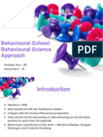 Behavioural School - Behavioural Science Approach