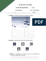 Ficha de trabalho 7º ano - Material, Substâncias, concentração e estados físicos