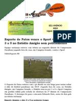 Esporte de Patos vence o Sport Campina por 3 a 0 no Estádio Amigão