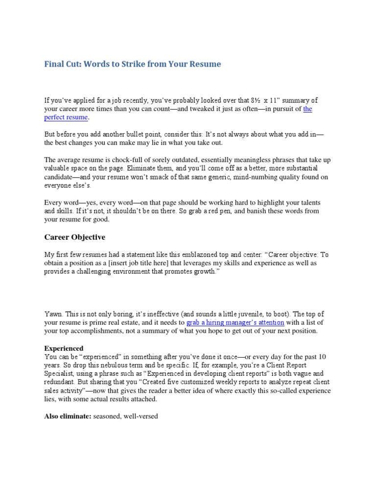 words to strike from your resume recruitment résumé