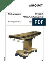 Maquet Operating Table Alphaclassic - User Manual