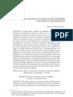 POLÍTICA DE AVALIAÇÃO DA EDUCAÇÃO SUPERIOR CONTROLE E MASSIFICAÇÃO