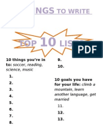 40 Things to Write About (TOP 10 LISTS)