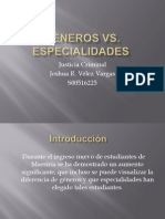 Generos vs. Especialidades