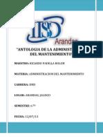 Antologia de La Administracion Del Mantenimiento - Trabajo FINAL!