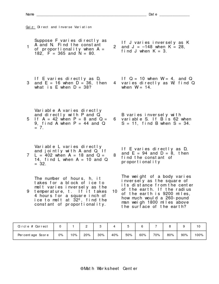 Worksheets Printable Direct And Inverse Variation Worksheet With Answer Key direct and inverse variation worksheet notes bingo game note