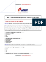 Sample Paper ICICI Probationary Officer Practice Exam Paper