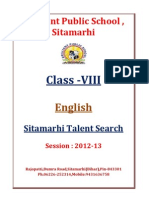Class VIII English Sitamarhi Talent Search 2013 1