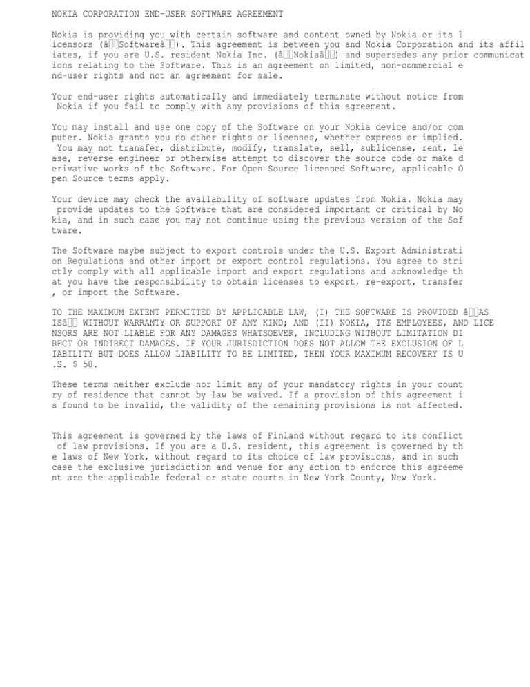 Nokia Suite Licence Agreement License Nokia