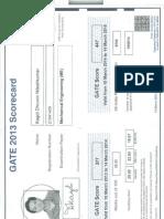 Photo Copy of GATE Score Card