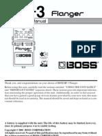 Boss BF-3 Flanger Guitar Pedal Manual