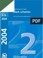2004 Maths Mark Scheme
