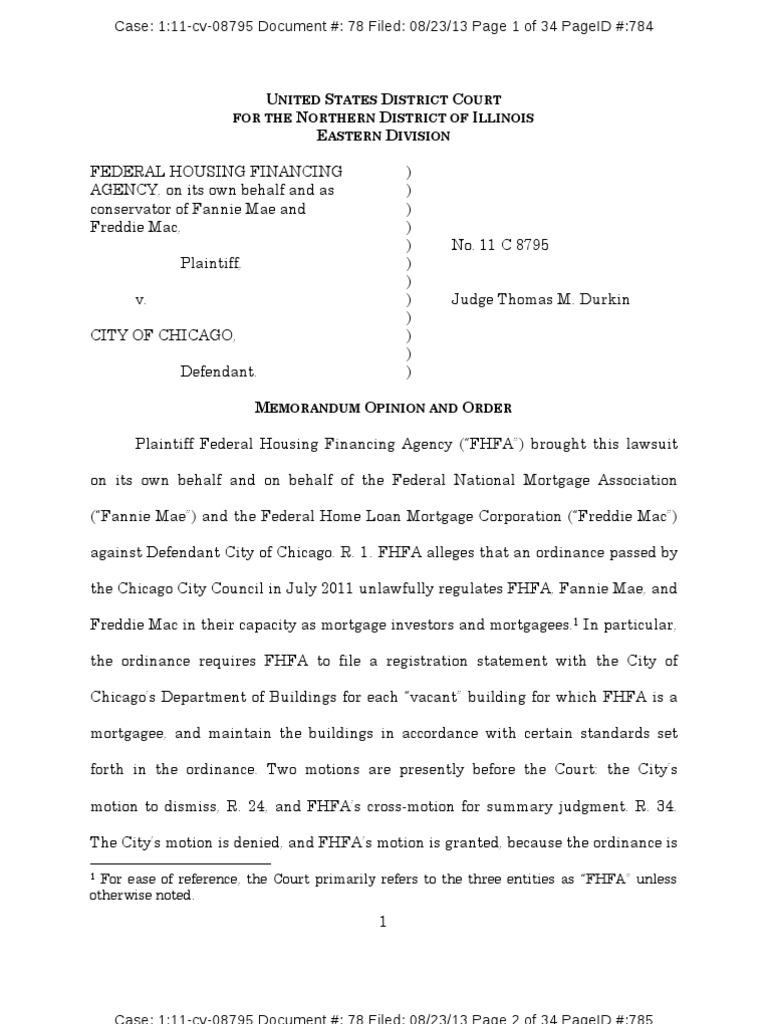 FHFA v  Chicago | Federal Preemption | Fannie Mae