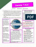 Swamp Talk; Okefenokee Toastmasters Club Newsletter, September 2013