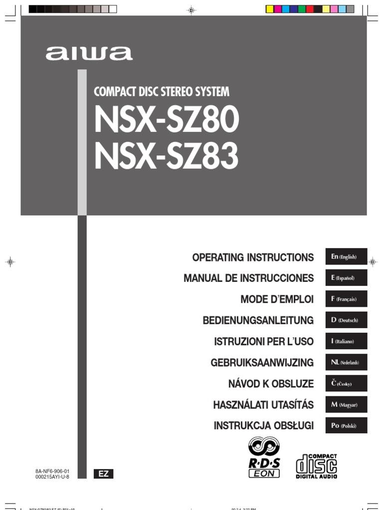 Aiwa Nsx Sz80   Compact Cassette   Loudspeaker