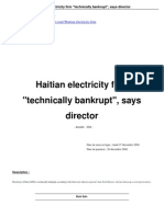 "Haitian electricity firm ""technically bankrupt"", says director Jean Errol Morose [December 2004]"