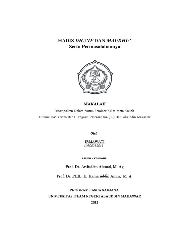 Hadis Dhaif Maudhu Irma