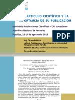 4 ANR El articulo cientifico y la importancia de su publicación