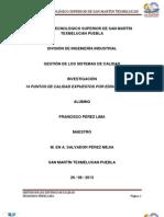 14 Puntos de Calidad Expuestos Por Edward Deming.