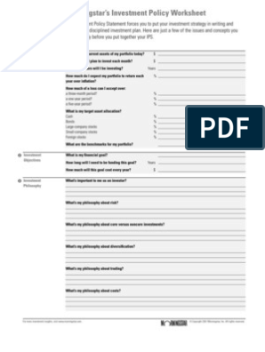 investment policy worksheet